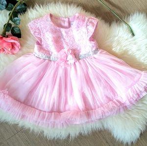 Sweat Heart Rose Pink Flowers Baby Dress
